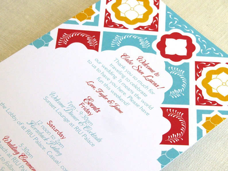 Mexican Tile Wedding Itinerary Card  Welcome Bag Card image 0