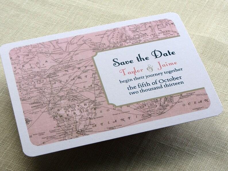 Vintage Wedding Save the Date Postcard  Vintage Map  image 0