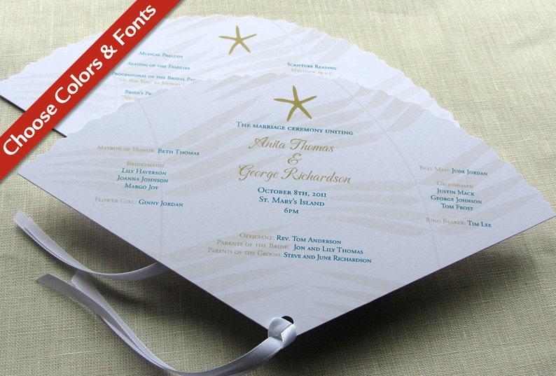 Starfish Wedding Programs  Beach Fan Ceremony Program  image 0