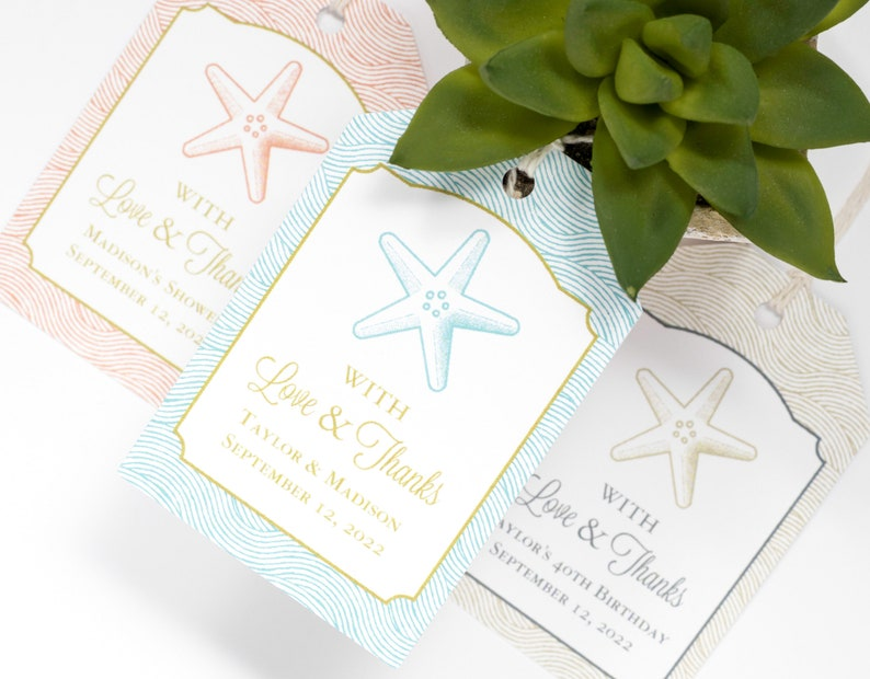 Beach Wedding Favor Tag  2x3 Inch  Set of 25 with String  image 0