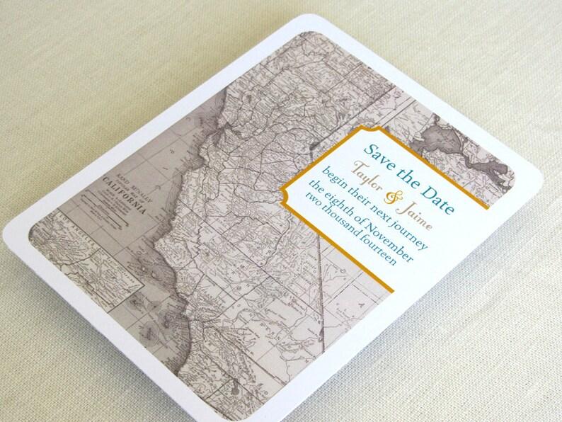 California Save the Date Postcard  Wedding Vintage Map  image 0