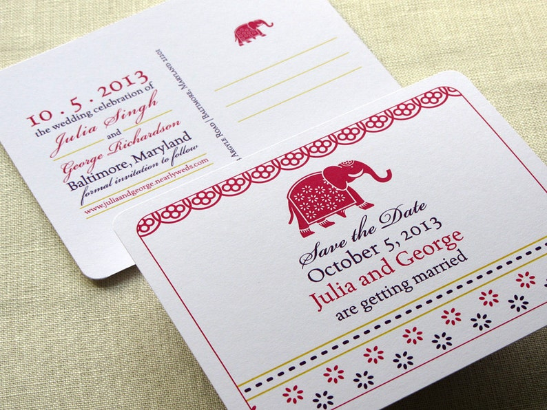 Indian Elephant Save the Date Postcard  Decorated Block Print image 0