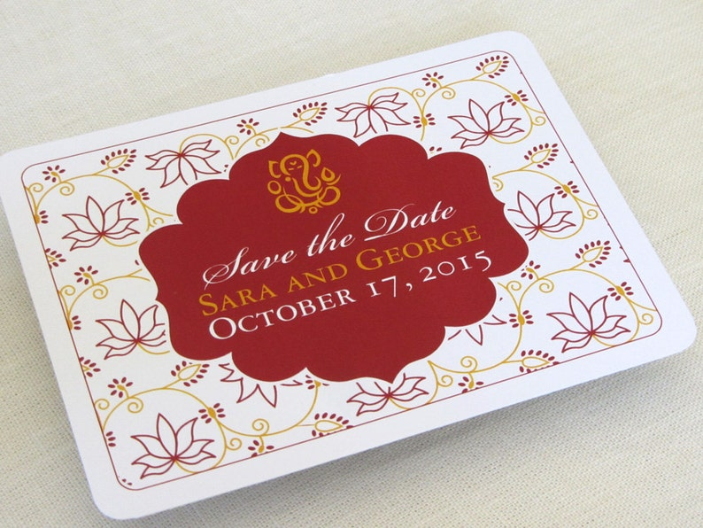 Indian Save the Date Postcard  Ganesh Lotus Floral  Hindu image 0