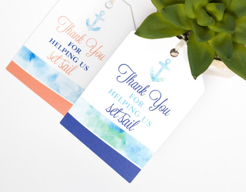 Nautical Beach Wedding Favor Tag  2 x 3 Inch  Set of 25 with image 0
