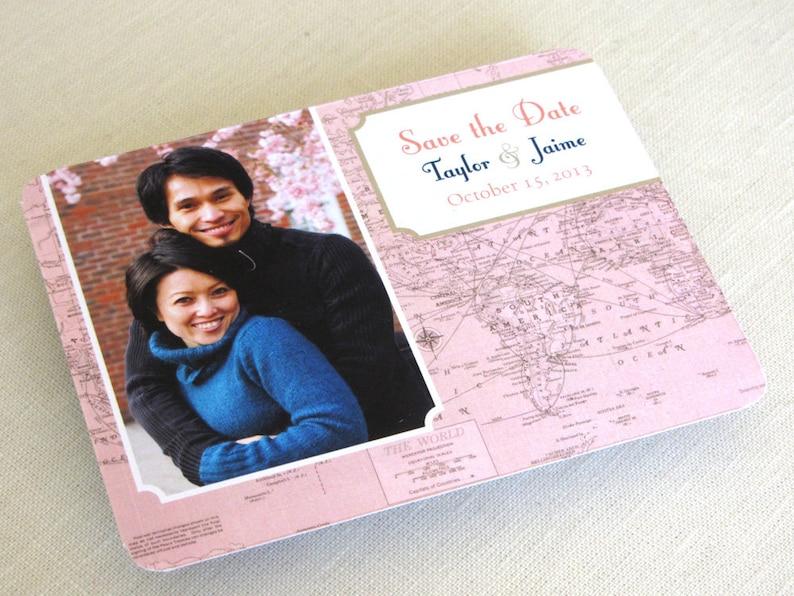 Vintage Wedding Save the Date Photo Postcard  Vintage Map  image 0