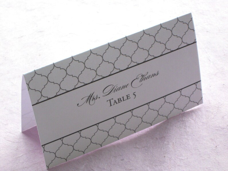 Elegant Formal Place Card  Indian Lattice Tent Escort Card  image 0