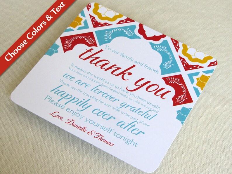 Mexican Tile Wedding Thank You Card  Talavera Tile Reception image 0