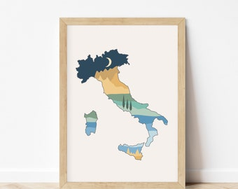 Italy Wall Art Geography - Boho Décor - Italy Poster Landscape Print - Unframed