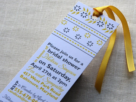 bridal shower bookmark invitation floral baby shower invite etsy