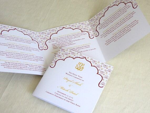 ganesh hindu wedding programs indian trifold folded etsy