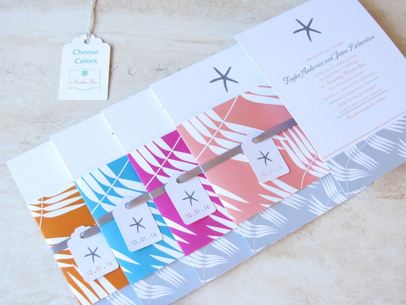 Starfish Beach Wedding Invitation   Bellyband Tropical image 0