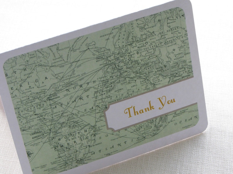 Vintage Map Thank You Card  Travel Destination Note Card Gift image 0