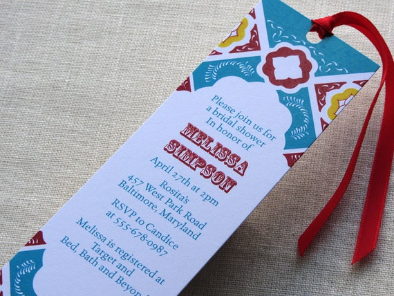 mexican tile bookmark invitation bridal or baby shower