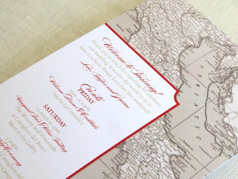 Italy Wedding Itinerary Card  Welcome Bag Card  Tuscany image 0