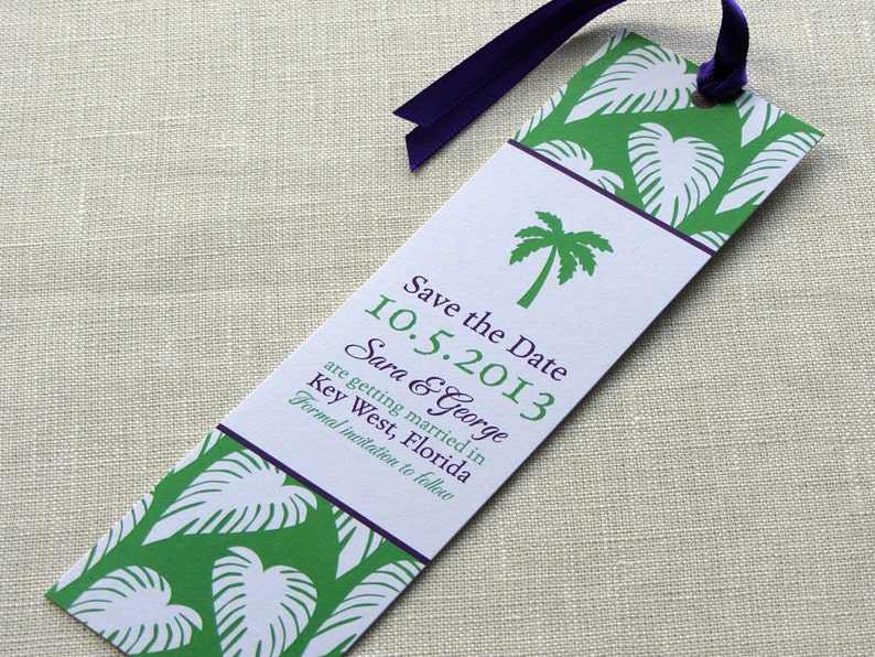 Beach Wedding Save the Date   Palm Tree Tropical Bookmark  image 0