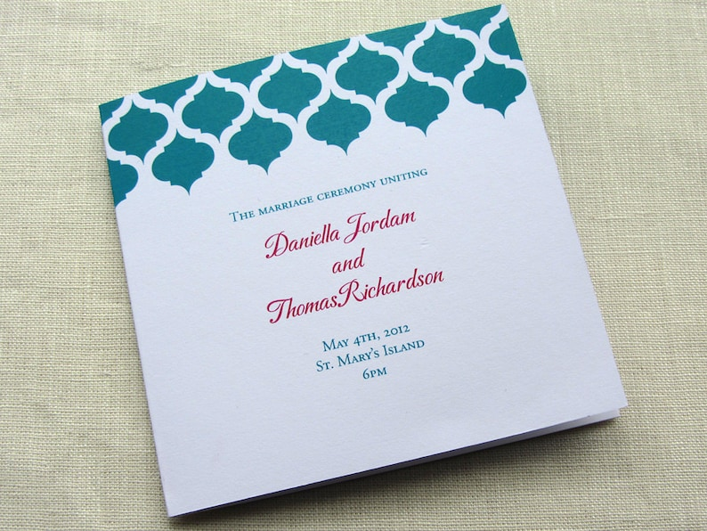 Elegant Wedding Program  Modern Vintage Ceremony Program  image 0