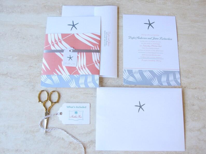 Choose Your Colors Coral Fuchsia Pink Blue Aqua Orange Cruise Wedding Belly Band Starfish Wedding Invitation -Beach Wedding Invite
