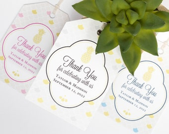 Pineapple Tropical Wedding Favor Tag - 2x3 Inch - Set of 25 with String - Bridal or Baby Shower Thank You - Welcome Bag - Black, Pink, Blue
