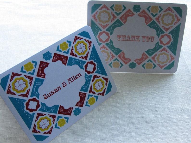 Mexican Talavera Tile Thank You Card  Note Card Gift Set  image 0