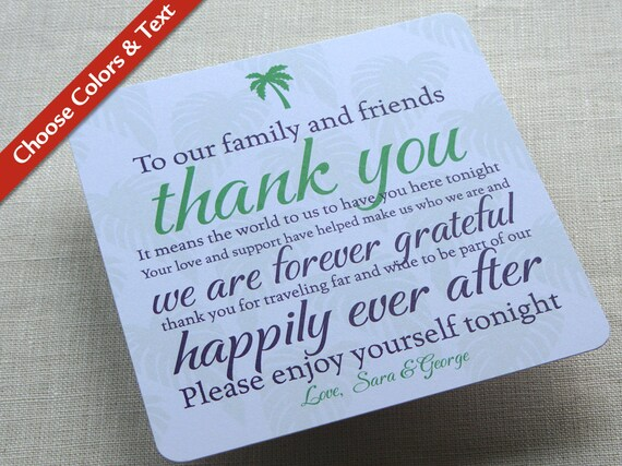 Palm Tree Wedding Reception Thank You Card Destination Travel Tropical Custom Colors And Wording Set Of 25