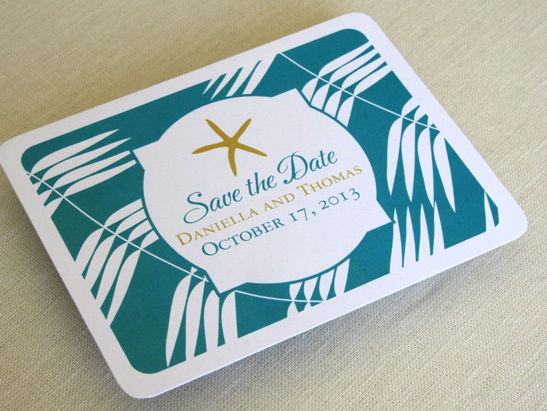 Starfish Beach Save the Date Postcard  Tropical Palm  image 0