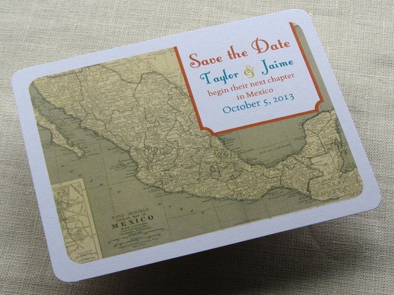 Mexican Wedding Save the Date Postcard  Mexico Vintage Map  image 0