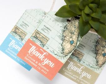 Florida Wedding Favor Tag - 2x3 Inch - Set of 25 with String - Vintage Map - Destination Welcome Bag - Shower Thank You - Coral, Aqua, Gold