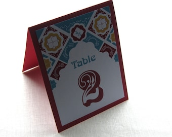 Mexican Table Number - Talavera Monogram Floral Tile - Tent or Panel Style - 10 Numbers