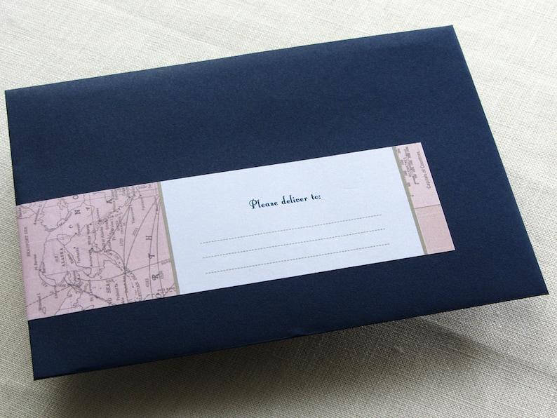 Wrap Around Label  Vintage Map Return Address  Self Adhesive image 0