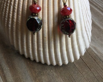Red faceted glass Picassco drop earrings
