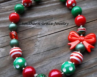 Christmas Bubblegum Bead Necklace