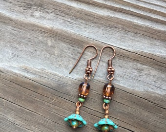 Turquoise glass flower cap dangle earrings