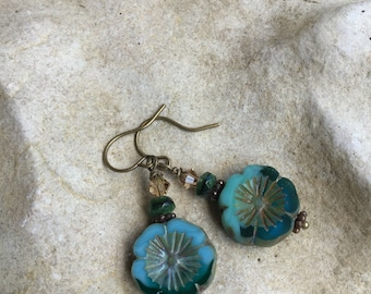 Blue glass Hibiscus flower dangle earrings