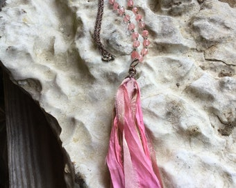 Handmade Sari silk tassel necklace with pink faceted glass beads