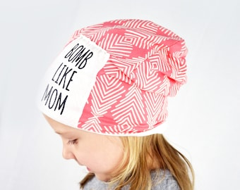 baby child slouchy beanie BOOMBOX  Rad Like Dad Bomb Like Mom 84dc91689cf