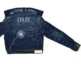 CUSTOM girls denim jacket: dandelion seeds | scout & indiana ™ | custom denim | girl power jean jacket | kids jean jacket | hand painted