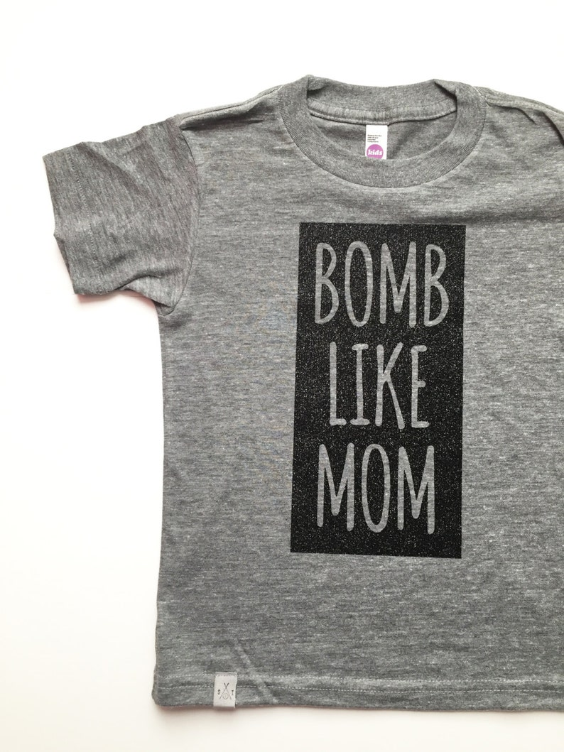 61190786ac01 Bomb like mom kids t-shirt block letters scout   indiana