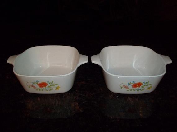 Vintage Corning Ware Wildflower Petite Casserole Dish With Plastic Storage Lid 2 34 cups P-43-B