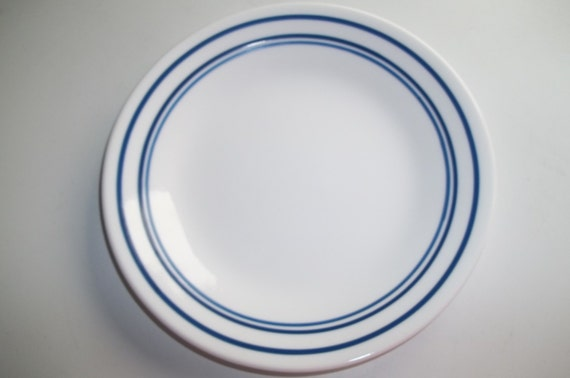 """1 Corelle CLASSIC CAFE BLUE Bands 6 3//4/"""" BREAD /& BUTTER PLATE Triple Bands *New"""