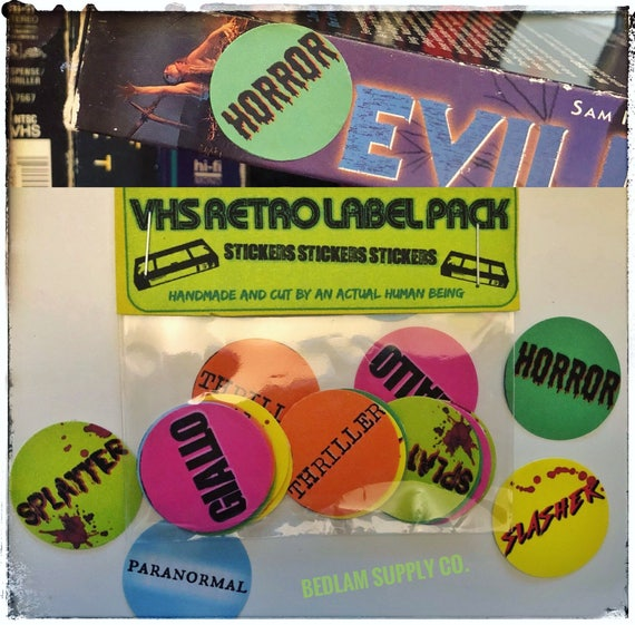 "Horror VHS Sticker 1 1//4/"" Pinback Button logo sticker replica video rental"