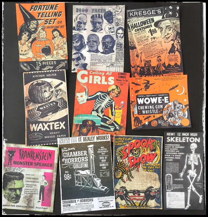 Vintage Halloween Ads.Vintage Halloween And Horror Ads All Stickers Etsy