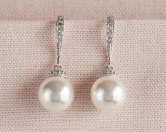 Pearl Bridal Earrings, Classic Pearl Wedding Earrings, Rose Gold Bridesmaid earrings, Swarovski Pearl drop Earrings