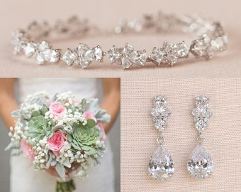 Red Zirconia Bridal Wedding Set Short Long Necklace Earrings Headpiece Bracelet Low Price Engagement & Wedding Jewelry & Watches