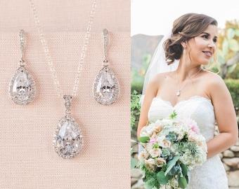Crystal Bridal Set. Bridesmaids Jewelry Set, Crystal Pendant and Earrings, Wedding Jewellery, Ariel Bridal Jewelry SET