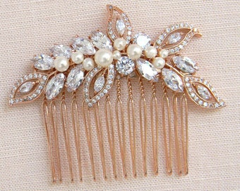 Rose Gold Comb, Bridal Hair comb, Pearl Bridal Comb, Swarovski Wedding headpiece, Bridal hair clip, Linneah Rose Gold Hair Comb