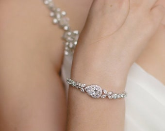 Rose Gold Bridal Bracelet, Crystal Wedding bracelet, Gold Bridal Bracelet,  Wedding Jewelry, Bridal Jewelry, Rose Gold Ariel Bracelet