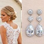 Crystal Bridal Earrings, Wedding earrings, Long Bridal earrings, Bridesmaids, Wedding Jewelry, Long Crystal Stud Earrings