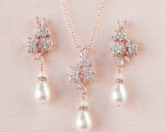 Rose Gold Bridal Necklace, Rose Gold Wedding earrings, Pearl Wedding jewelry, Swarovski, Pendant, Bridal jewelry, PIPER Jewelry SET