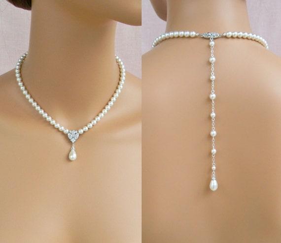 Pearl Bridal Necklace, Bridal Jewelry SET, Pearl Drop Bridal Earrings, Wedding Jewelry, Swarovski,  Alyssa Wedding Jewelry Set