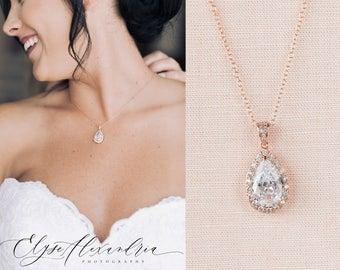 Rose Gold Bridal Necklace, Crystal wedding necklace, Rose Gold Bridesmaid necklace, Bridal Jewelry, Wedding Jewelry, Ariel Bridal Necklace
